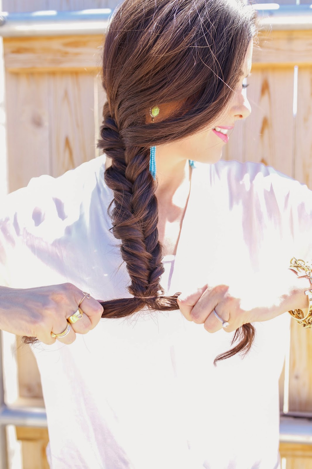 emily gemma hair, the sweetest thing hair, how to fishtail, messy fishtail braid, how to make a messy fishtail, bauble bar, turquoise tassel earrings, delyn evolve sessions, miles witt boyer, beauty blog, hair tutorials with braids