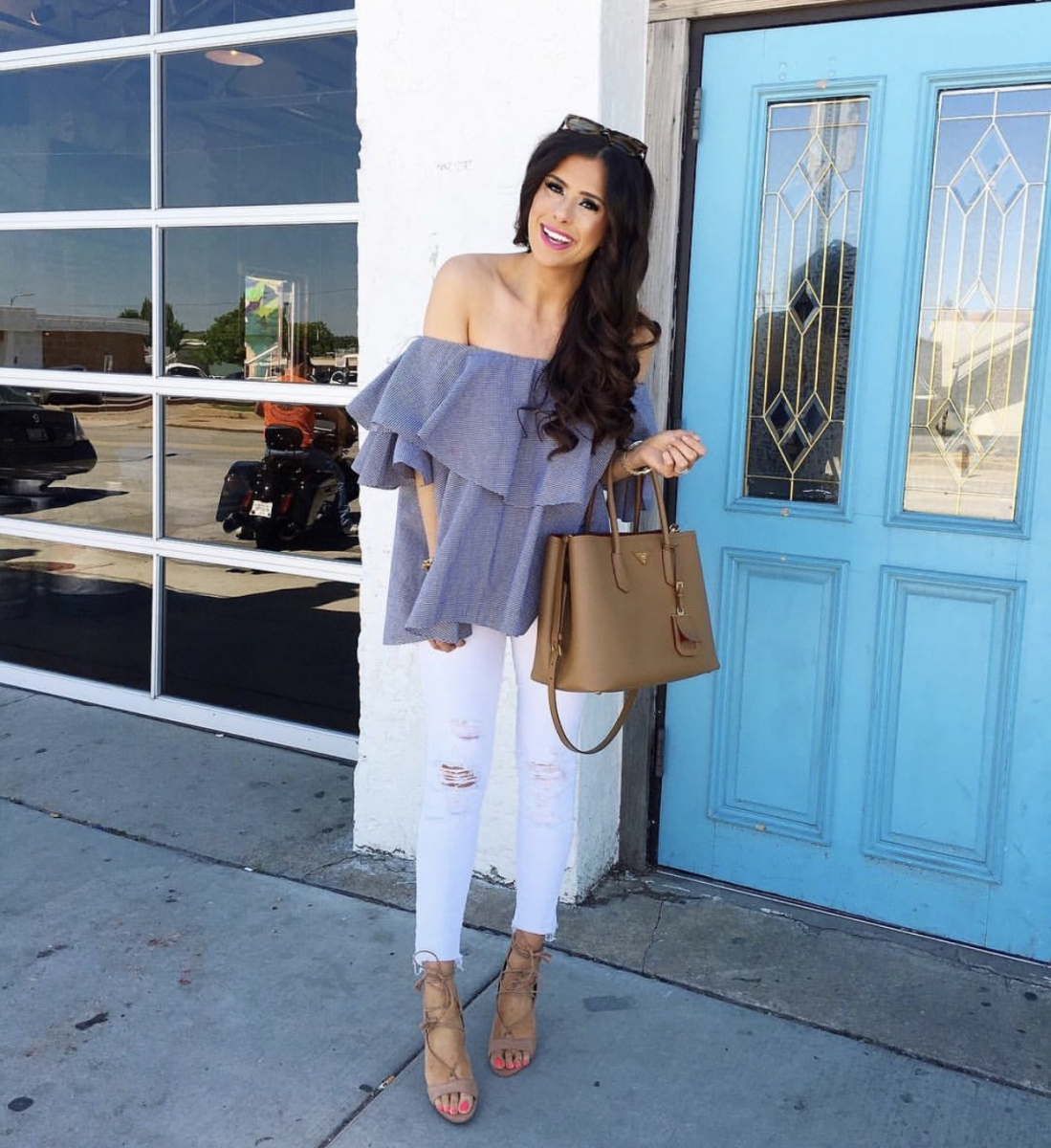 pinterest spring fashion 2017, white jeans outfits, MLM off the shoulder top, emily gemma ,the sweetest thing