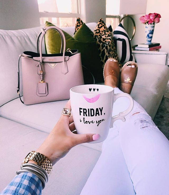 its friday coffee mug, prada tan espadrilles, prada cammeo tote