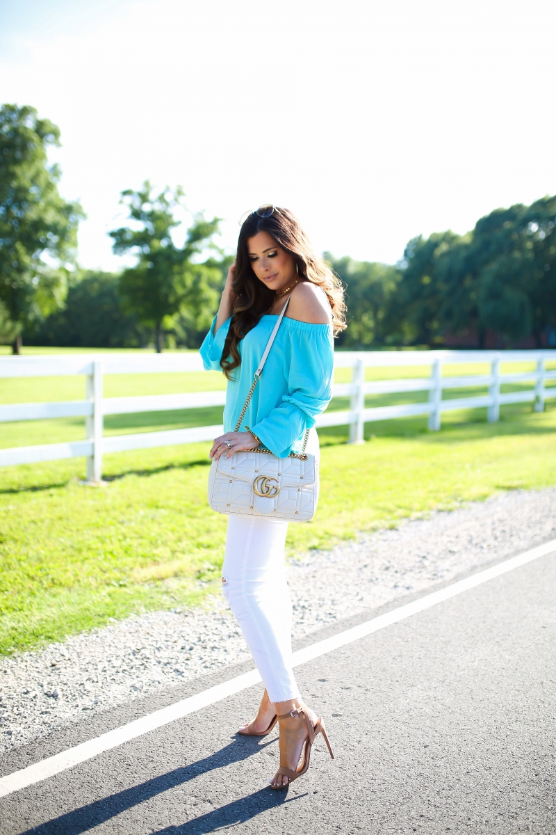 pinterest summer outfit ideas white denim, pinterest summer fashion off the shoulder tops, sanctuary off the shoulder top, gucci white marmont bag, emily gemma, the sweetest thing blog, cute outfit post partum, michele diamond deco, steve madden stecy heel, white ripped skinny jeans, white J brand jeans