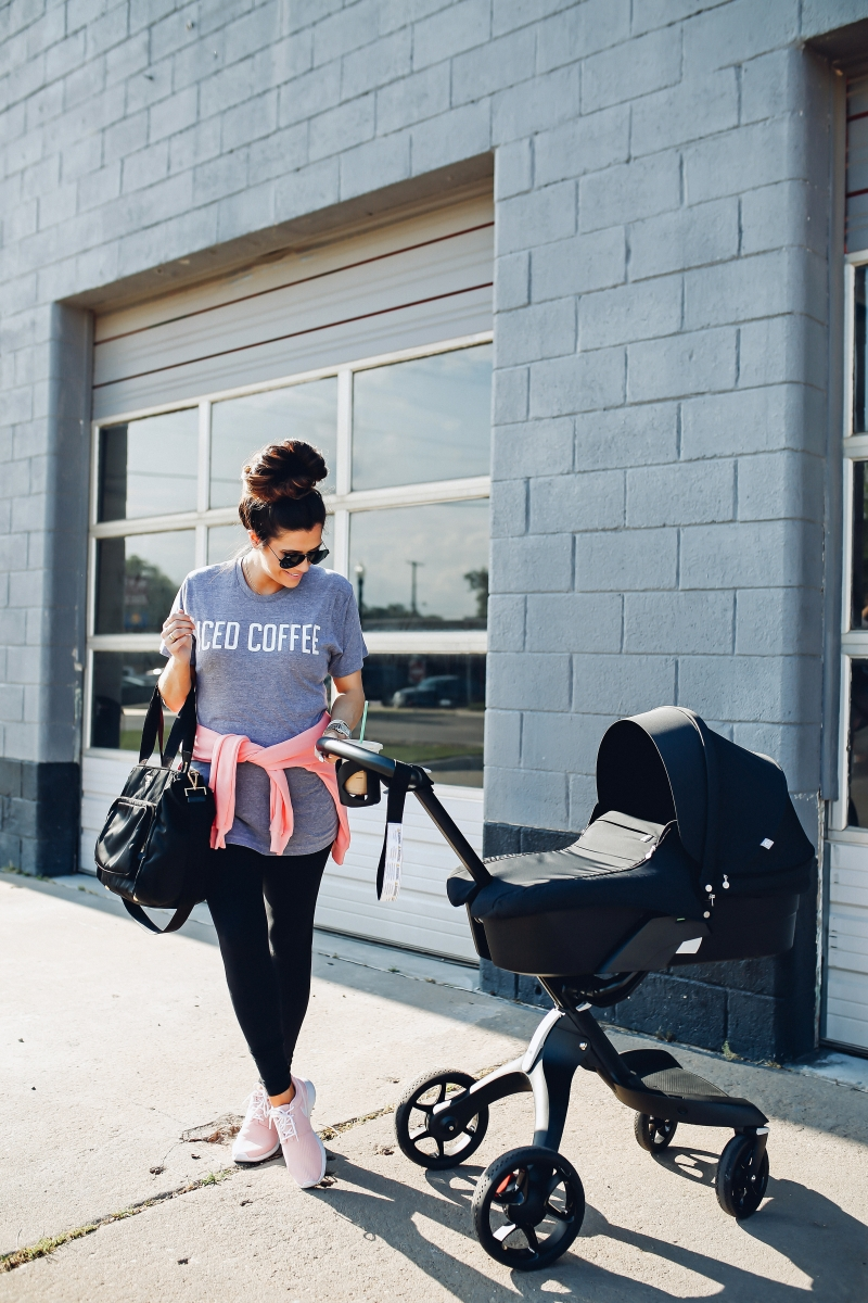pinterest casual summer athleisure, emily gemma, the sweetest thing, stokke stroller review, pink nike roshe, new mom outfits, best black leggings, zella leggings