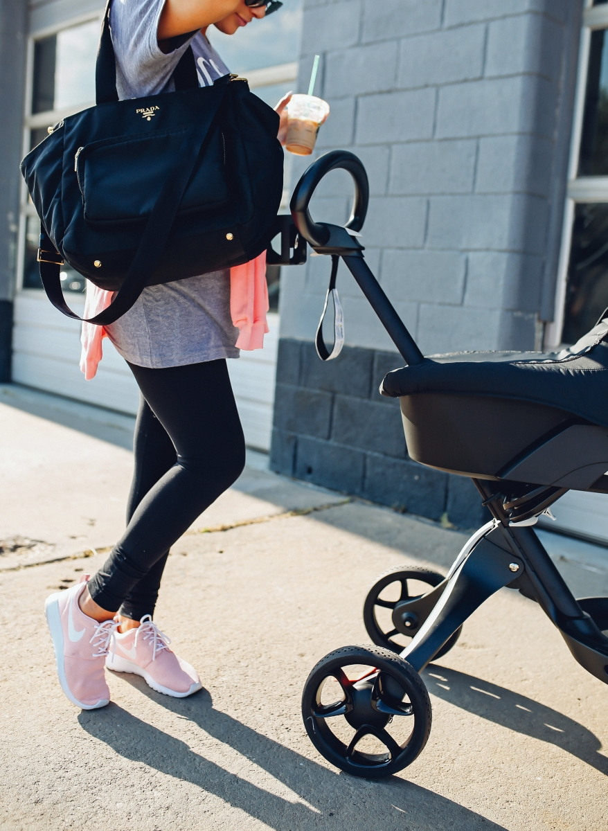 pinterest casual summer athleisure, emily gemma, the sweetest thing, stokke stroller review, pink nike roshe