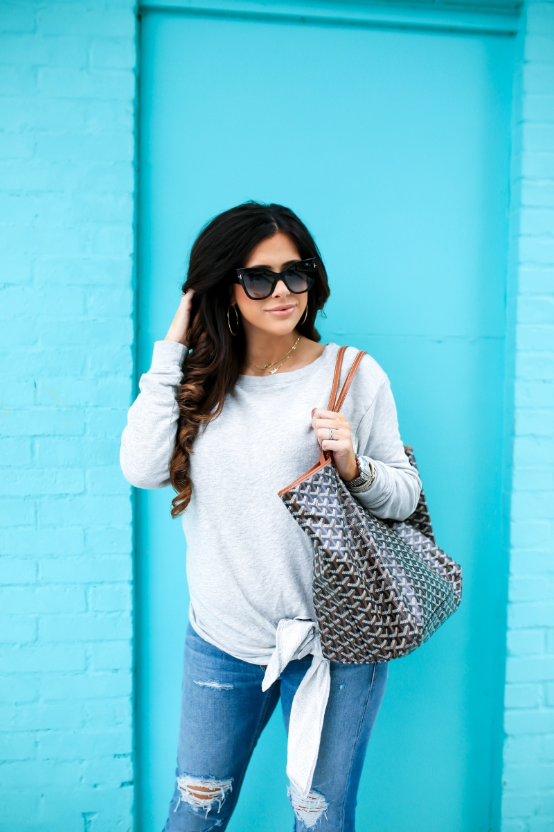 emily gemma, the sweetest thing blog, rachel zoe maxi cozy carseat, rachel zoe quinny stroller, hinge tie front sweater, rag & bone boyfriend jeans, pinterest spring outfit ideas, pinterest spring fashion, goyard St Louis GM, christina elmoussa tom ford sunglasses