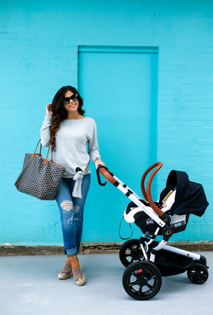 emily gemma, the sweetest thing blog, rachel zoe maxi cozy carseat, rachel zoe quinny stroller, hinge tie front sweater, rag & bone boyfriend jeans, pinterest spring outfit ideas, pinterest spring fashion