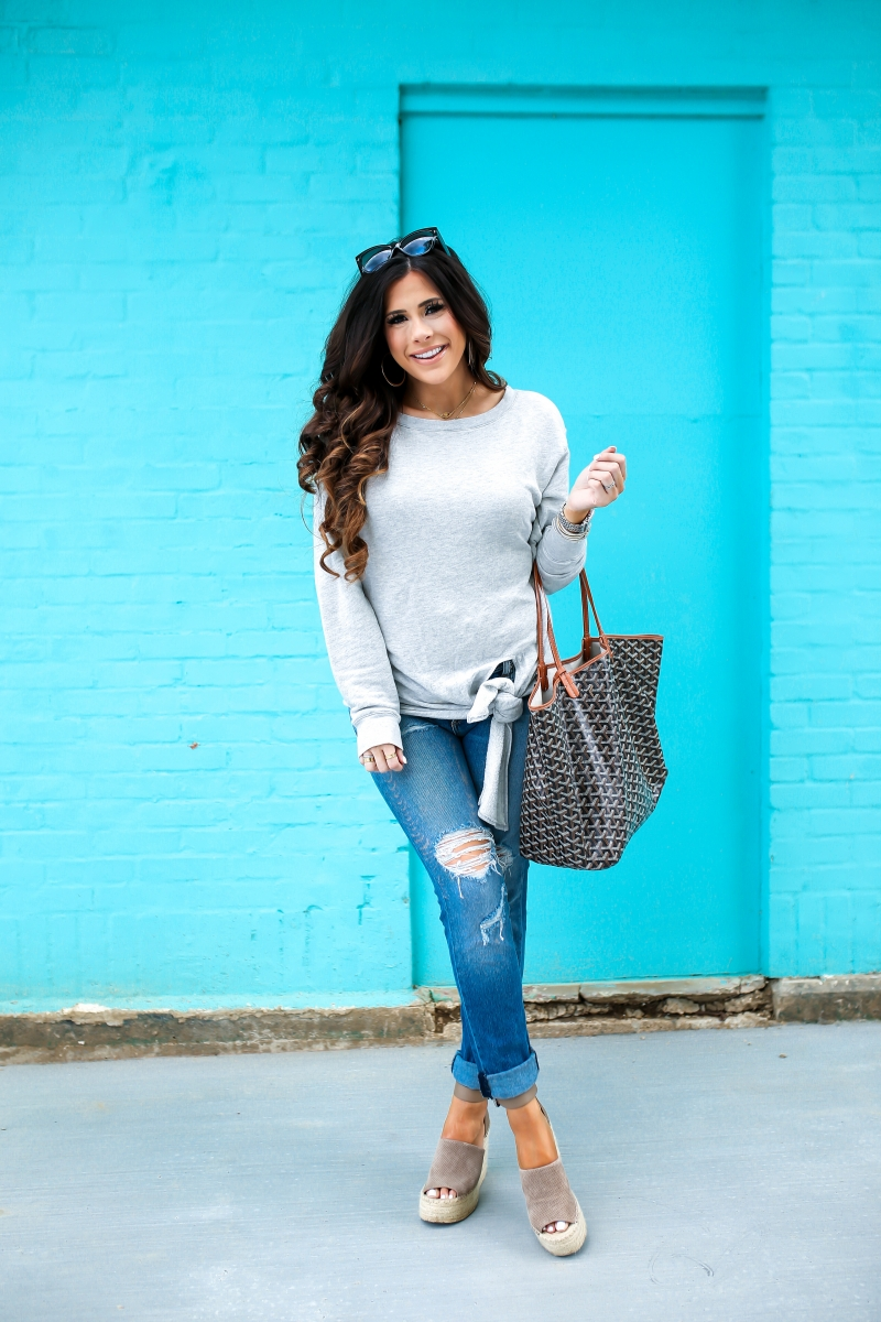 emily gemma, the sweetest thing blog, rachel zoe maxi cozy carseat, rachel zoe quinny stroller, hinge tie front sweater, rag & bone boyfriend jeans, pinterest spring outfit ideas, pinterest spring fashion, goyard St Louis GM