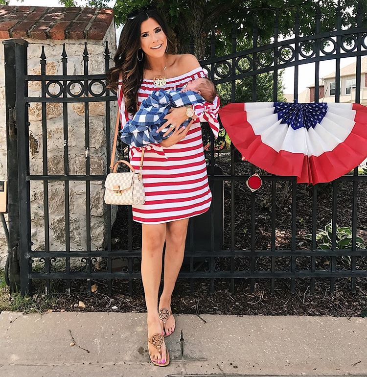 summer fashion pinterest 2017, summer fashion tumblr 2017, emily gemma, the sweetest thing blog, fashion bloggers to follow, mommy blogger, cute outfits for fourth of july, family outfit idea fourth of july, gingham baby swaddle, louis vuitton croisette damier azur, 4th of july dress,
