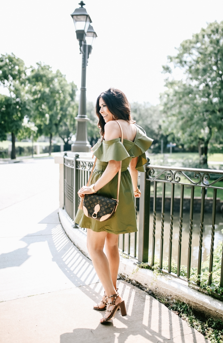 emily gemma, the sweetest thing blog, JOA ruffled olive one shoulder dress, dallas fashion blog, louis vuitton Saint cloud, valentino rockstud sandals, pinterest summer fashion outfits cute, tumblr summer fashion 2017