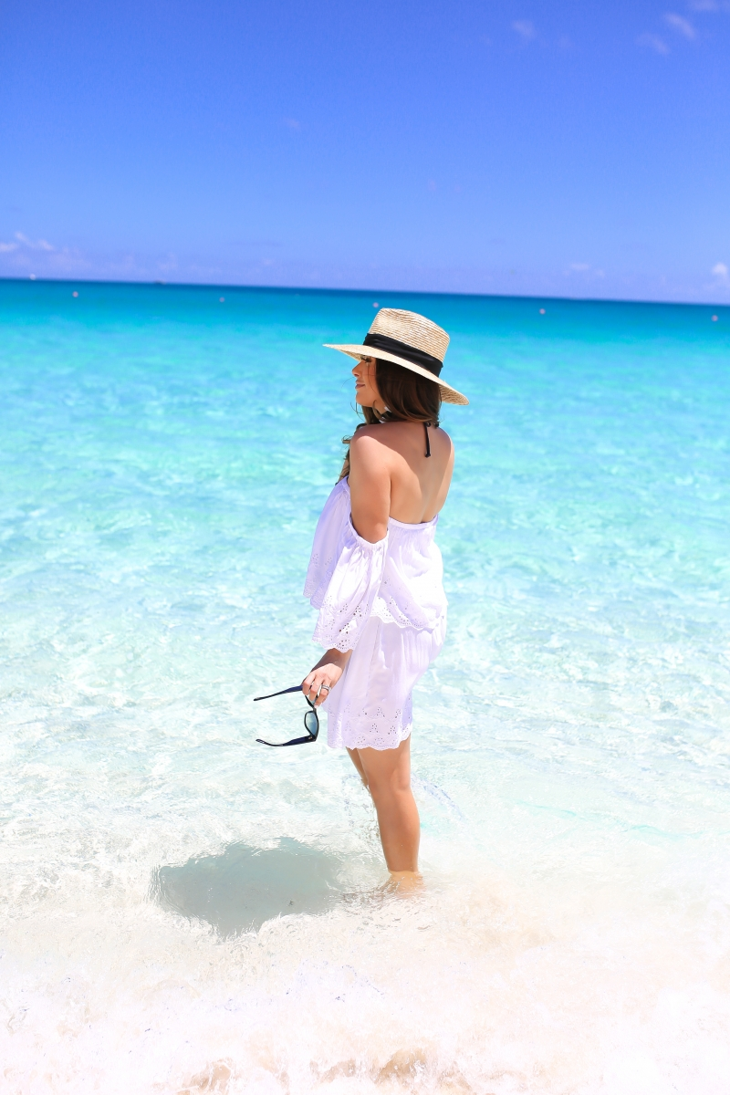 emily gemma, the sweetest thing, bahamas one and only, cute outfits and swimsuits for beach vacation 2017, pinterest summer swimsuits and cover ups, tumblr cute outfits for beach, brixton straw hat, bauble bar tassel earrings, tom ford sunglasses cat eye, nordstrom white dress