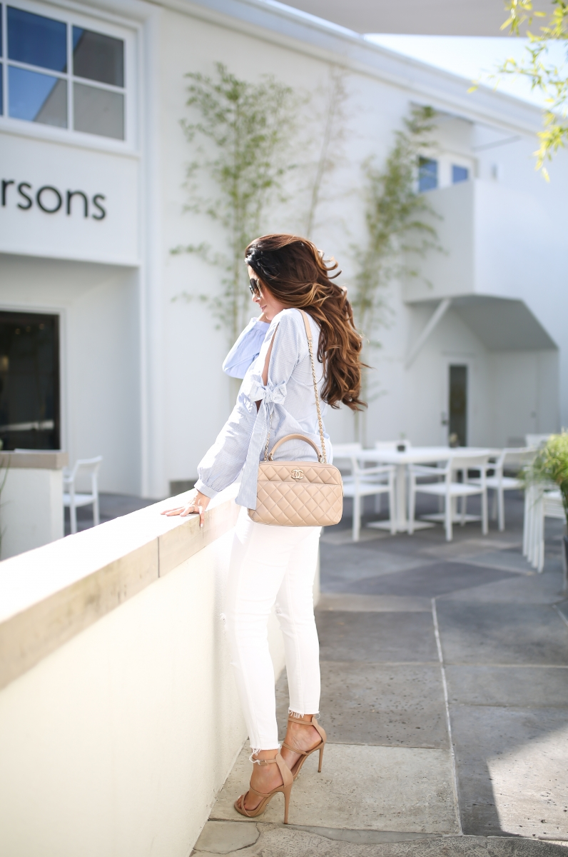 emily gemma, the sweetest thing blog, cute fall outfit pinterest, bow sleeved top, nude chanel bowling bag, white J brand jeans, summer fashion 2017, louis vuitton trunk iPhone case, chloe sunglasses,
