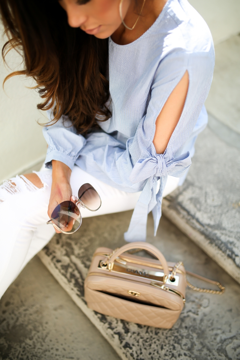 emily gemma, the sweetest thing blog, cute fall outfit pinterest, bow sleeved top, nude chanel bowling bag, white J brand jeans, summer fashion 2017