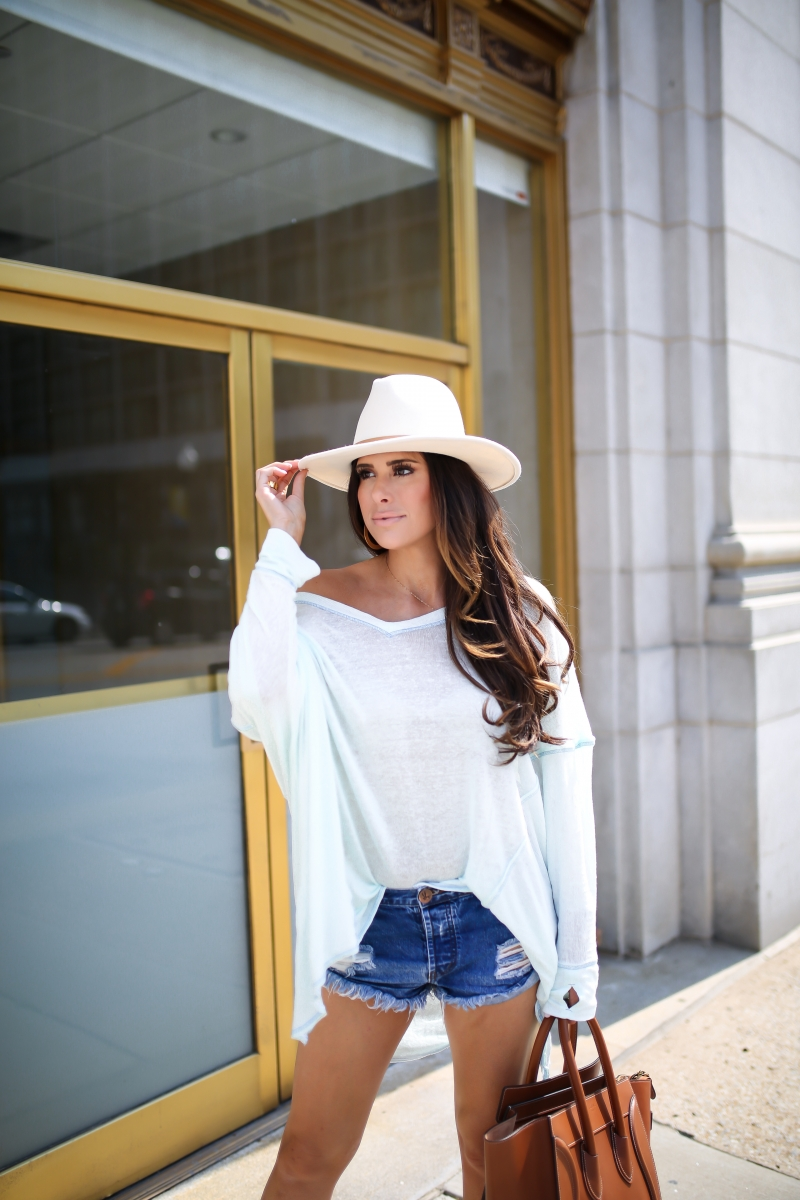 emily gemma, the sweetest thing blog, cute summer outfit with ripped denim shorts, lack of color MACK hat, celine mini luggage tan, one teaspoon ripped shorts,