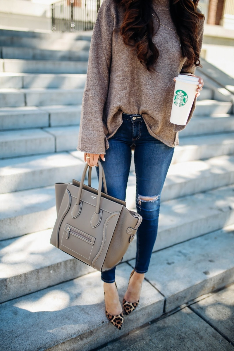 8 Cute Fall Outfits featured by top US fashion blogger, Emily Gemma of The Sweetest Thing: fall fashion 2017 outfits, fall fashion trends 2017, fall outfits tumblr, cute fall outfit pinterest, BANFF canada review, Lake Louis Canada, travel blogger, emily gemma,, the sweetest thing blog, Celine mini Luggage taupe, leopard print heels outfit