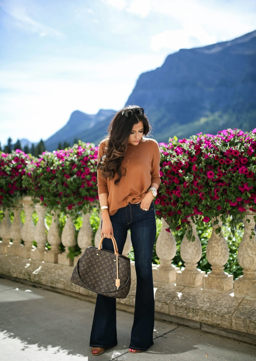 8 Cute Fall Outfits featured by top US fashion blogger, Emily Gemma of The Sweetest Thing: fall fashion 2017 outfits, fall fashion trends 2017, fall outfits tumblr, cute fall outfit pinterest, BANFF canada review, Lake Louis Canada, travel blogger, emily gemma,, the sweetest thing blog, flared denim outfit fall, Louis Vuitton Montaigne GM