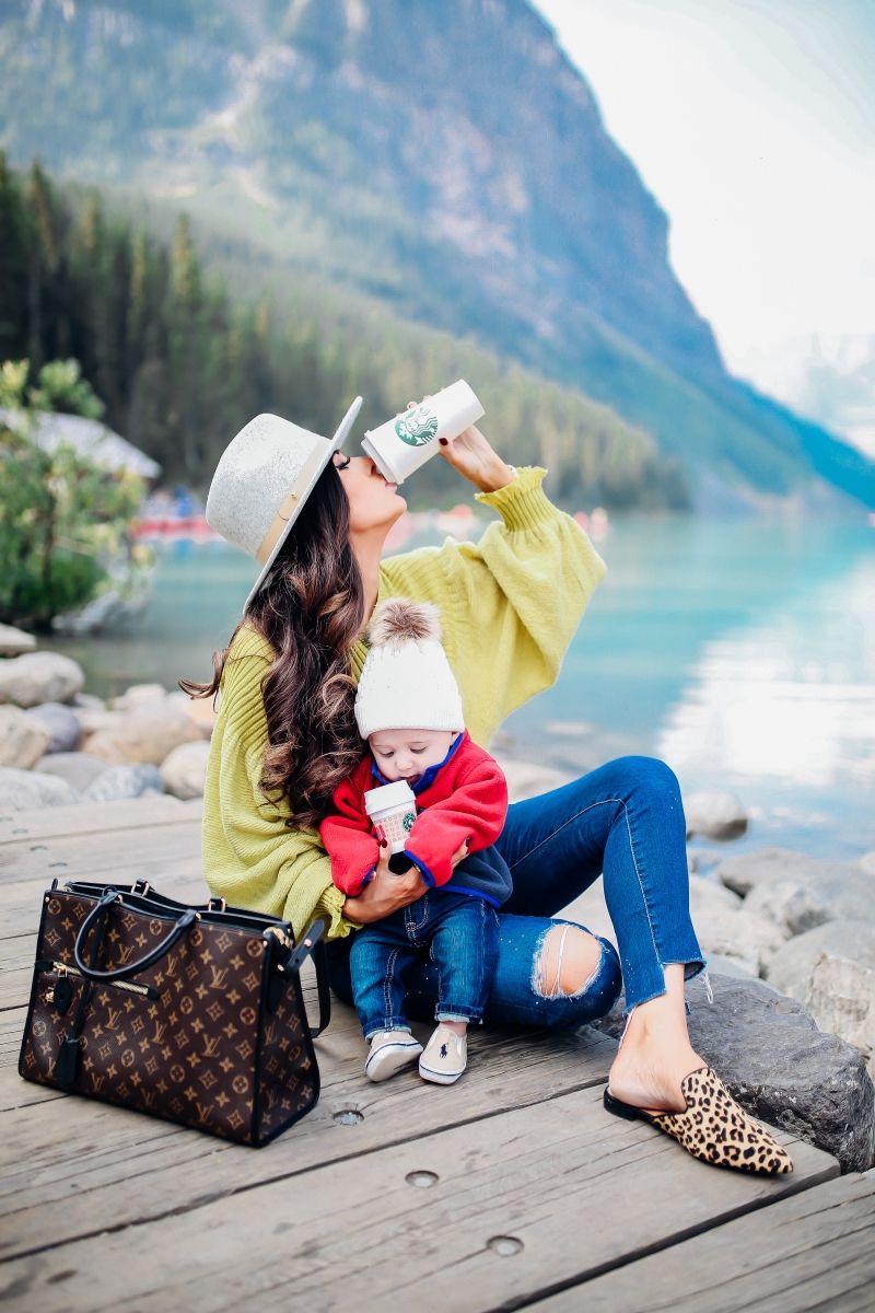 emily gemma, fall fashion outfits 2017, pinterest fall fashion 2017, cute fall outfits tumblr 2017, pinterest fall outfit ideas jeans, free people sunflower sweater, AG ankle skinny jeans, lack of color MACK hat, Louis vuitton poppincourt MM, baby boy fashion outfits, baby boy patagonia, travel blogger canada lake louise, lake louise photos, cute travel family photos, baby boy beanies, baby boy patagonia