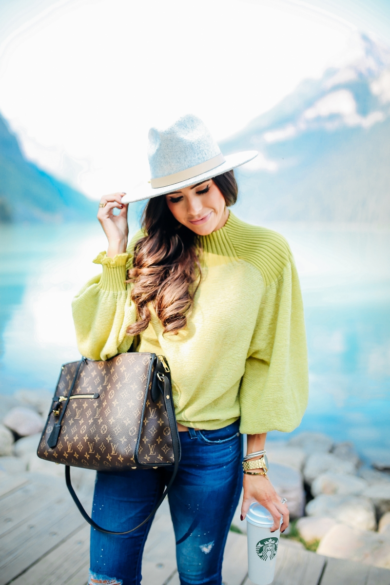 emily gemma, fall fashion outfits 2017, pinterest fall fashion 2017, cute fall outfits tumblr 2017, pinterest fall outfit ideas jeans, free people sunflower sweater, AG ankle skinny jeans, lack of color MACK hat, Louis vuitton poppincourt MM, baby boy fashion outfits, baby boy patagonia, travel blogger canada lake louise, lake louise photos, cute travel family photos, baby boy beanies, baby boy patagonia, cute mother son photos, mom and son photos