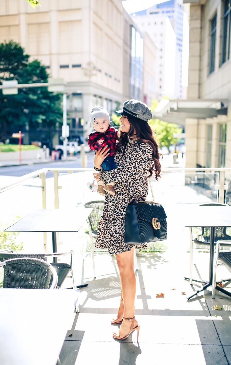 emily gemma blog, fall fashion outfits 2017, baby boy outfits fall plaid and beanies, ASOS leopard dress, brixton fiddler cap, cadet cap trend fall 2017, how to wear a cadet cap 2017, ASOS leopard print dress, fall leopard print dress, Gucci Marmont Maxi Sized, baby boy fashion blog, pinterest baby mom fashion blog, tumblr cute fall outfit family photos, Seattle travel blogger