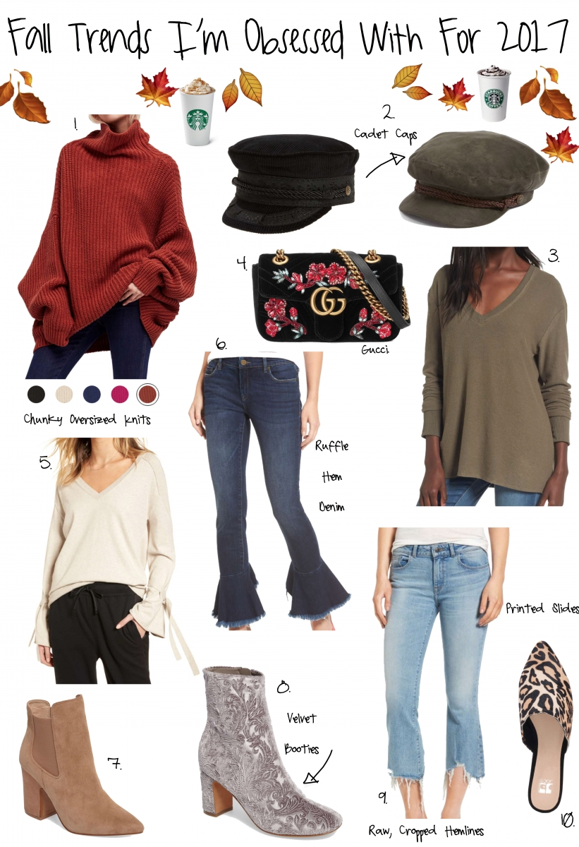 fall trends 2017, cadet newsies caps, flared jeans, free people oversized sweaters, leopard mules