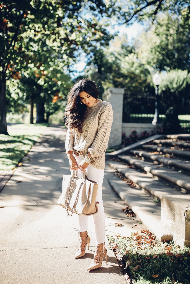 fall fashion 2017, cute fall outfits pinterest, fall outfits with white pants pinterest, emily ann gemma blog, the sweetest thing blog, cable knit sweater and jeans outfit fall fashion, cute thanksgiving outfit ideas,