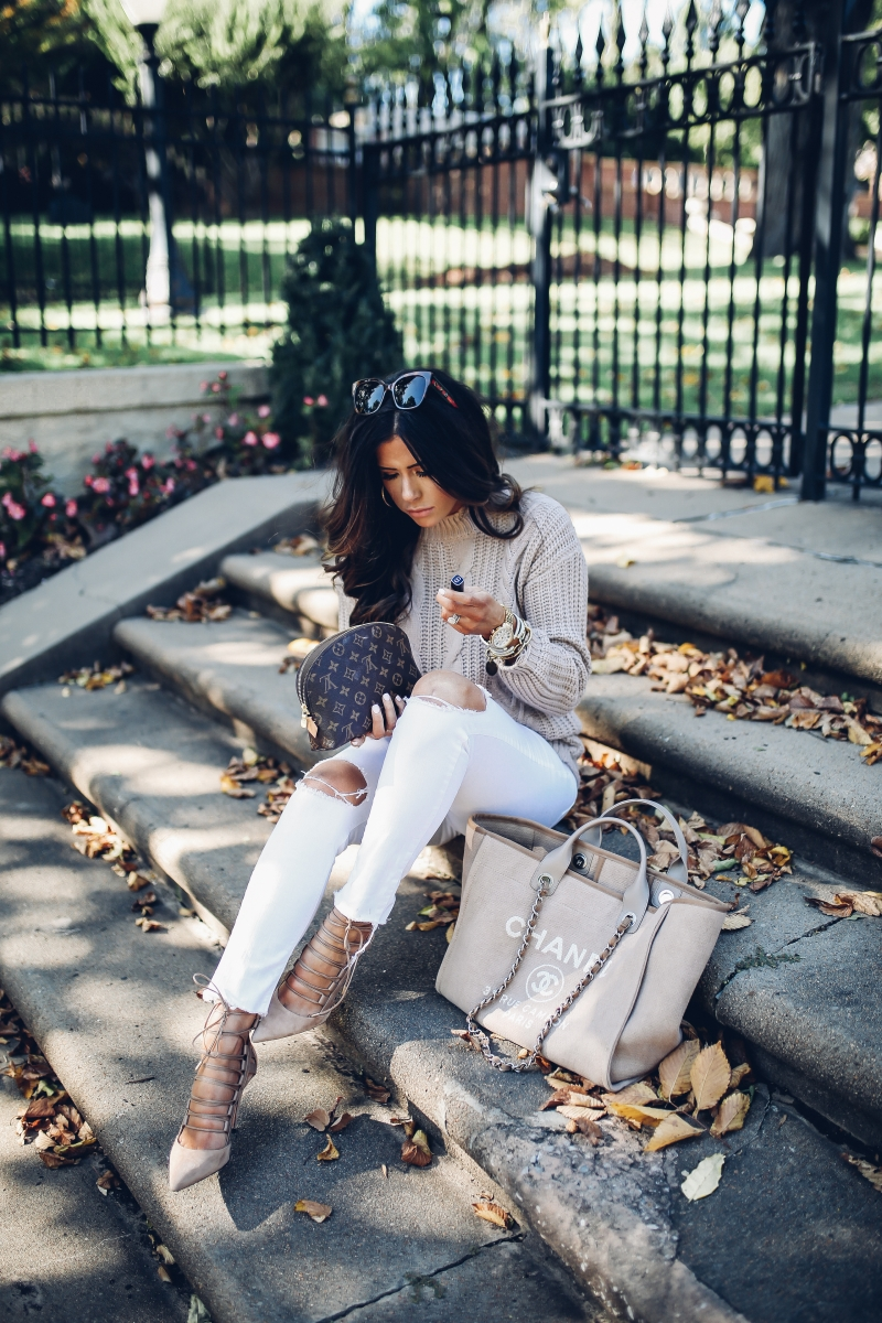 fall fashion 2017, cute fall outfits pinterest, fall outfits with white pants pinterest, emily ann gemma blog, the sweetest thing blog, cable knit sweater and jeans outfit fall fashion, cute thanksgiving outfit ideas, chanel deauville Ecru, gucci square sunglasses