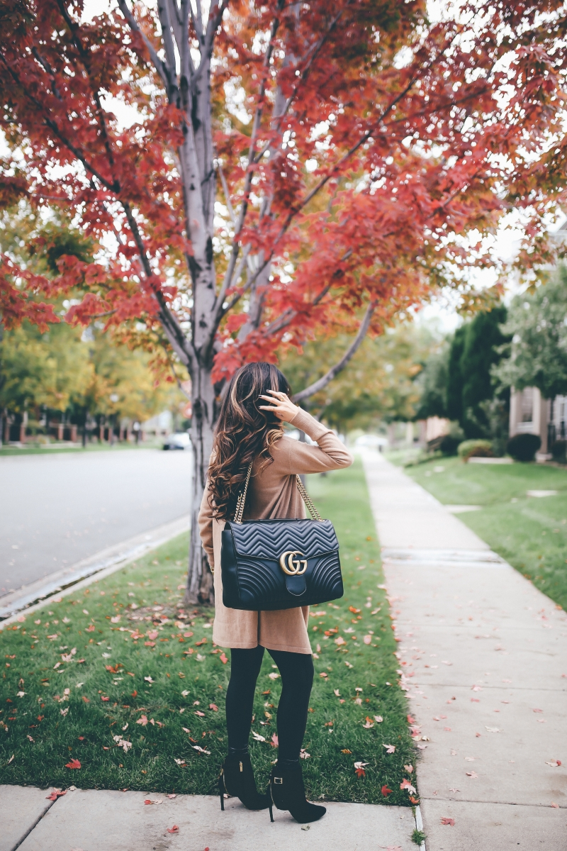 cute fall outfits cardigans, The Sweetest Thing Blog, faux leather leggings spanx review, best faux leather leggings, outfits faux leather leggings, fall outfit tan cardigan, cute fall outfits cardigans, denver travel blogger fashion blogger, the sweetest thing, Gucci Marmont Maxi