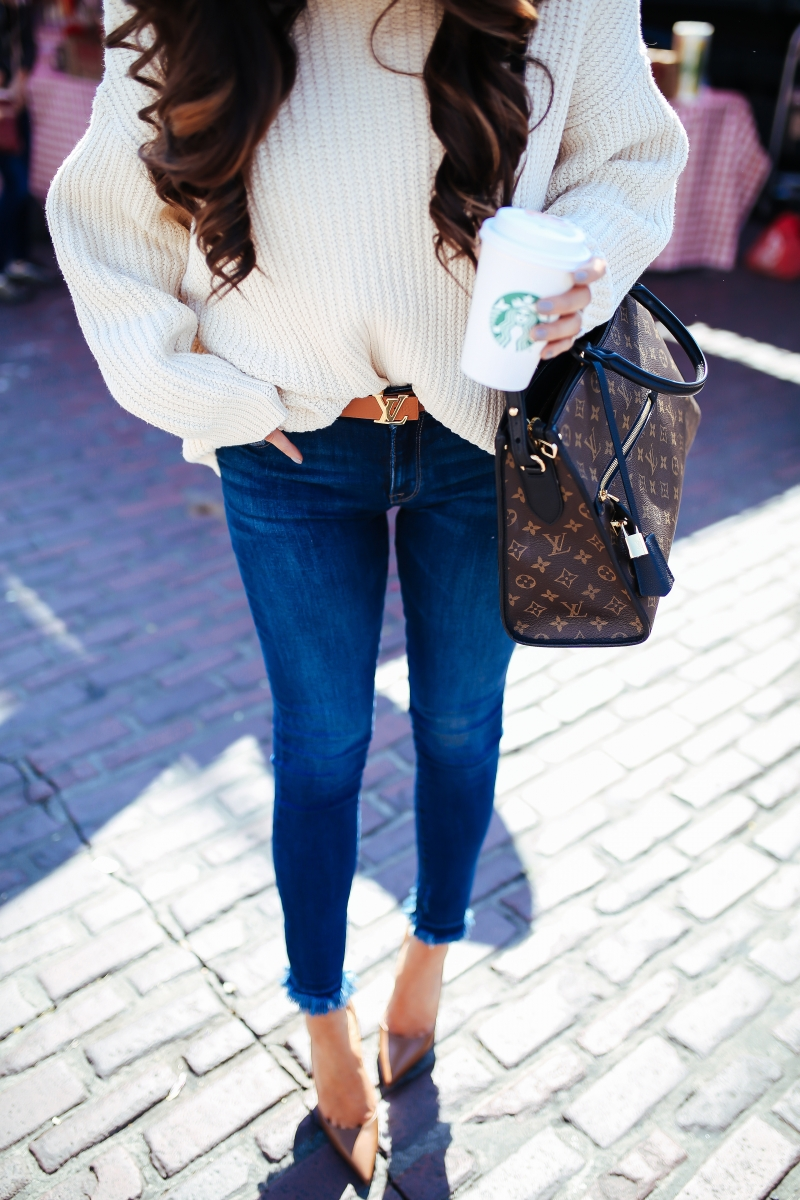 16 Thanksgiving Outfit Ideas featured by top US fashion blogger, Emily Gemma of The Sweetest Thing:cute fall thanksgiving outfitt 2017, cute fall pinterest outfit sweater and jeans, emily ann gemma, the sweetest thing blog, all black outfit pinterest, easy cute casual womens outfit fall pinterest tumblr thanksgiving, fashion blogger fall outfits pinterest, Louis vuitton Poppincourt MM bag outfit,