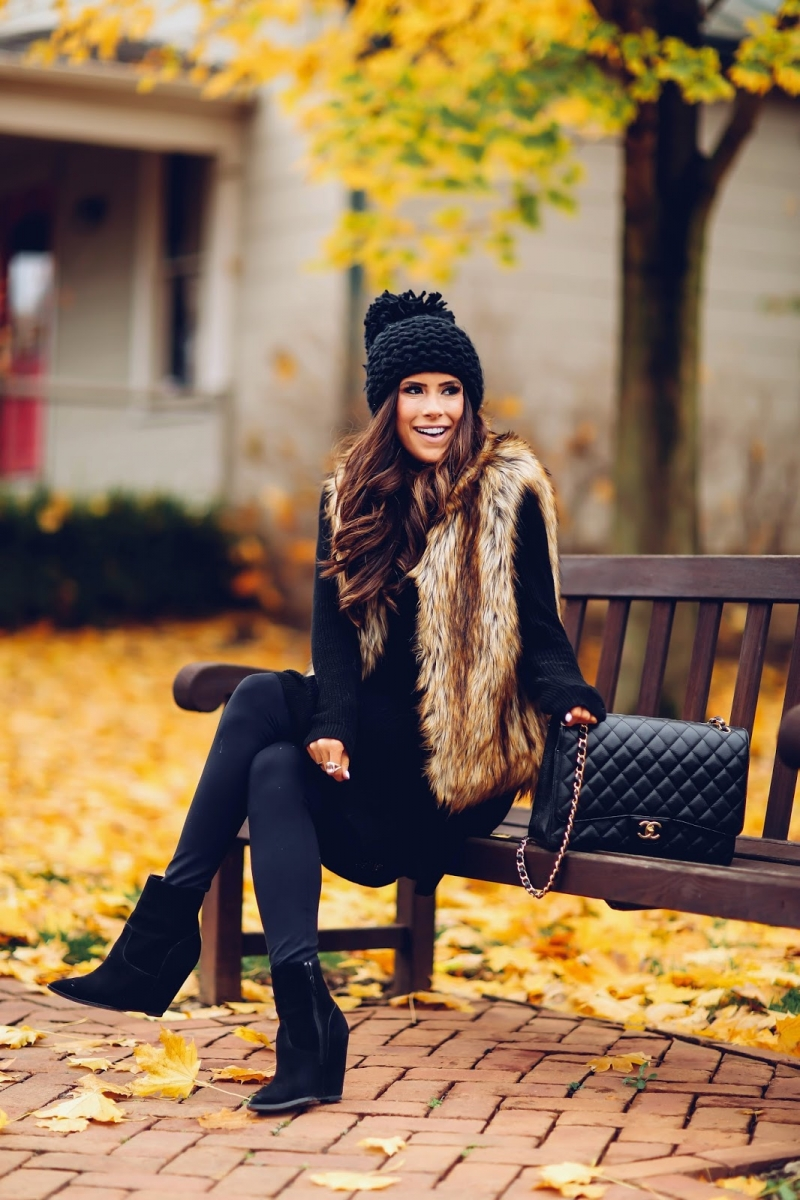 16 Thanksgiving Outfit Ideas featured by top US fashion blogger, Emily Gemma of The Sweetest Thing: cute fall thanksgiving outfitt 2017, cute pinterest faux fur vest outfit, emily ann gemma, the sweetest thing blog, all black outfit pinterest, easy cute casual womens outfit fall pinteres thanksgiving, chanel black classic maxi bag, fashion blogger fall outfits pinterest,
