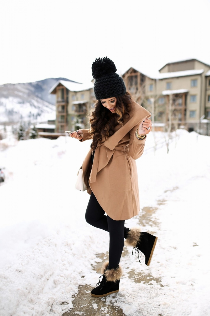 cute fall thanksgiving outfitt 2017, cute winter outfit tan wrap coat, emily ann gemma, the sweetest thing blog, all black outfit pinterest, easy cute casual womens outfit fall pinterest tumblr winter, park city utah fashion blog travel blogger, fashion blogger fall outfits pinterest, cecelia new york snow wedge booties16 Thanksgiving Outfit Ideas featured by top US fashion blogger, Emily Gemma of The Sweetest Thing: