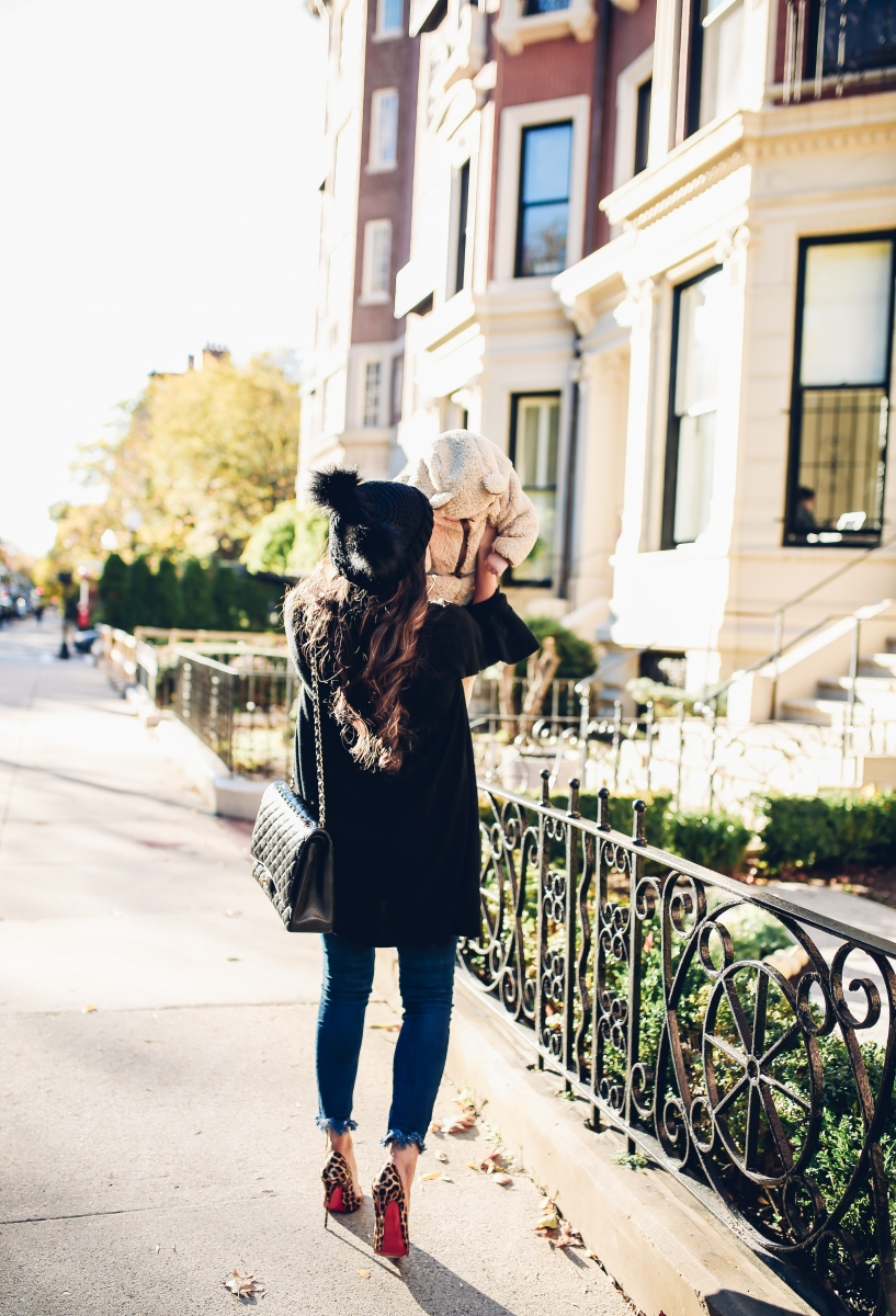 The Sweetest Thing, Emily Gemma, Emily Ann Gemma, Blue Jeans, Animal Print Stilettos, Black Cardigan LV Belt, Chanel Handbag, Fashion Blogger, Winter Trends, Fall Trends, Streetstyle, Casual outfit, long hair. #fashionblogger #falloutfit #fallfavorite