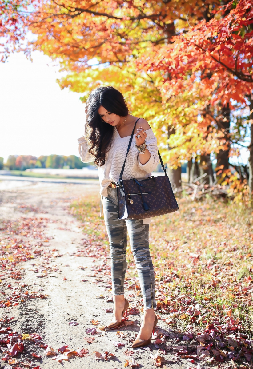 16 Thanksgiving Outfit Ideas featured by top US fashion blogger, Emily Gemma of The Sweetest Thing: cute fall thanksgiving outfitt 2017, cute fall pinterest outfit sweater and camo jeans, express november 2017 cute outfits, travel and fashion blogger, emily ann gemma, the sweetest thing blog, all black outfit pinterest, easy cute casual womens outfit fall pinterest tumblr thanksgiving, fashion blogger fall outfits pinterest, Louis vuitton Poppincourt MM bag outfit,