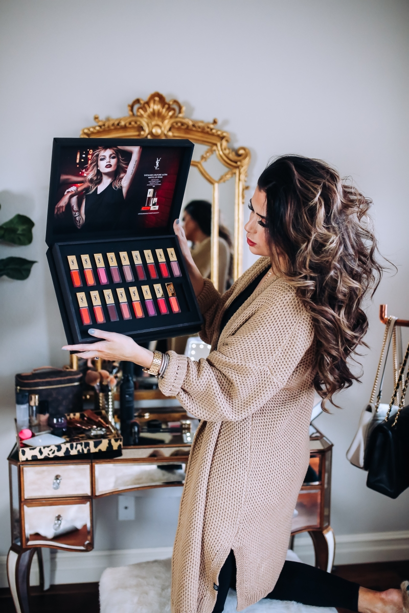 emily gemma makeup, emily gemma mascara, emily gemma home, giorgio armant powder fabric foundation review, the sweetest thing blog makeup posts, fall makeup ideas 2017, pinterest vanity and beauty rooms, vanity area pinterest, YSL tatouage liquid matte lip stain review