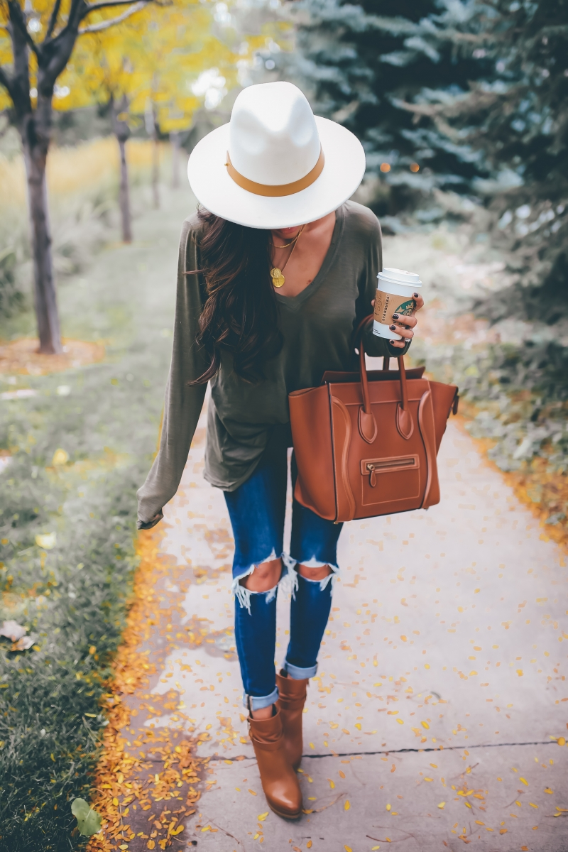 16 Thanksgiving Outfit Ideas featured by top US fashion blogger, Emily Gemma of The Sweetest Thing:cute fall thanksgiving outfitt 2017, cute casual fall pinterest outfit tee shirt and jeans, emily ann gemma, the sweetest thing blog, all black outfit pinterest, easy cute casual womens outfit fall pinterest tumblr thanksgiving, fashion blogger fall outfits pinterest, tan celine mini luggage, levis ripped knee jeans, free people t shirt