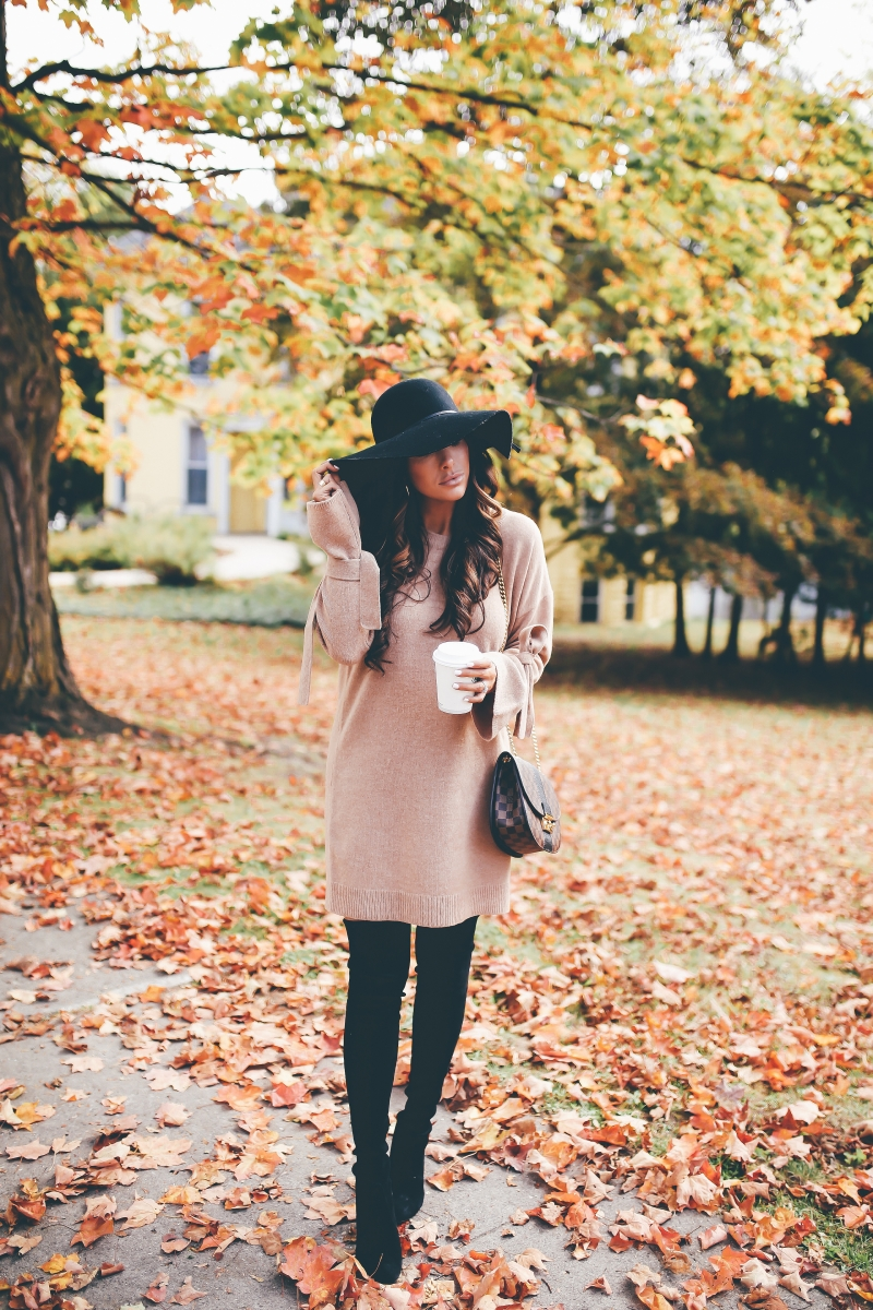16 Thanksgiving Outfit Ideas featured by top US fashion blogger, Emily Gemma of The Sweetest Thing: cute fall thanksgiving outfitt 2017, cute pinterest outfit black floppy hat, over the knee boots stuart weitzman, madewell sweater dress, louis vuitton WIGHT bag, emily ann gemma, the sweetest thing blog, all black outfit pinterest, easy cute casual womens outfit fall pinterest tumblr thanksgiving, fashion blogger fall outfits pinterest,