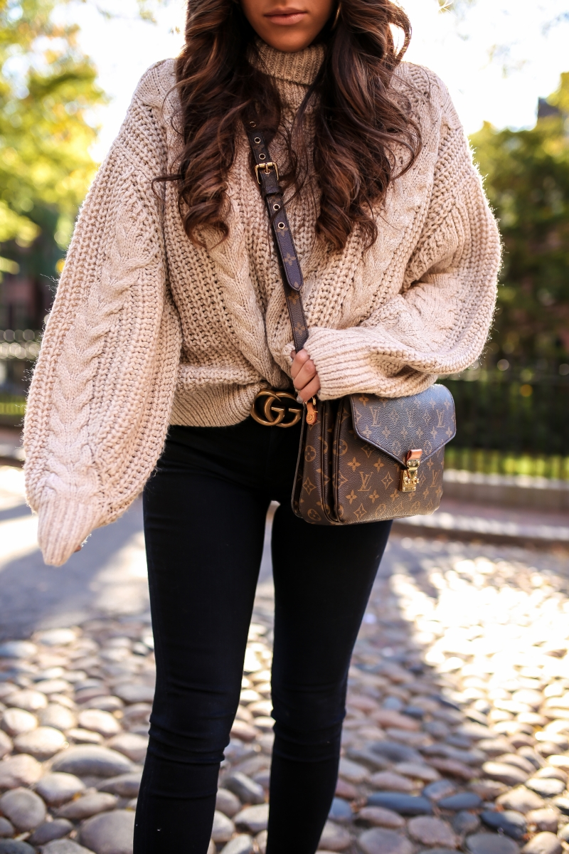 fall fashion 2017, cute outfits with gucci belts women pinterest, h&m chunky knit sweater outfit, louis vuitton pochette metis outfit idea, fall winter outfits boston beanie