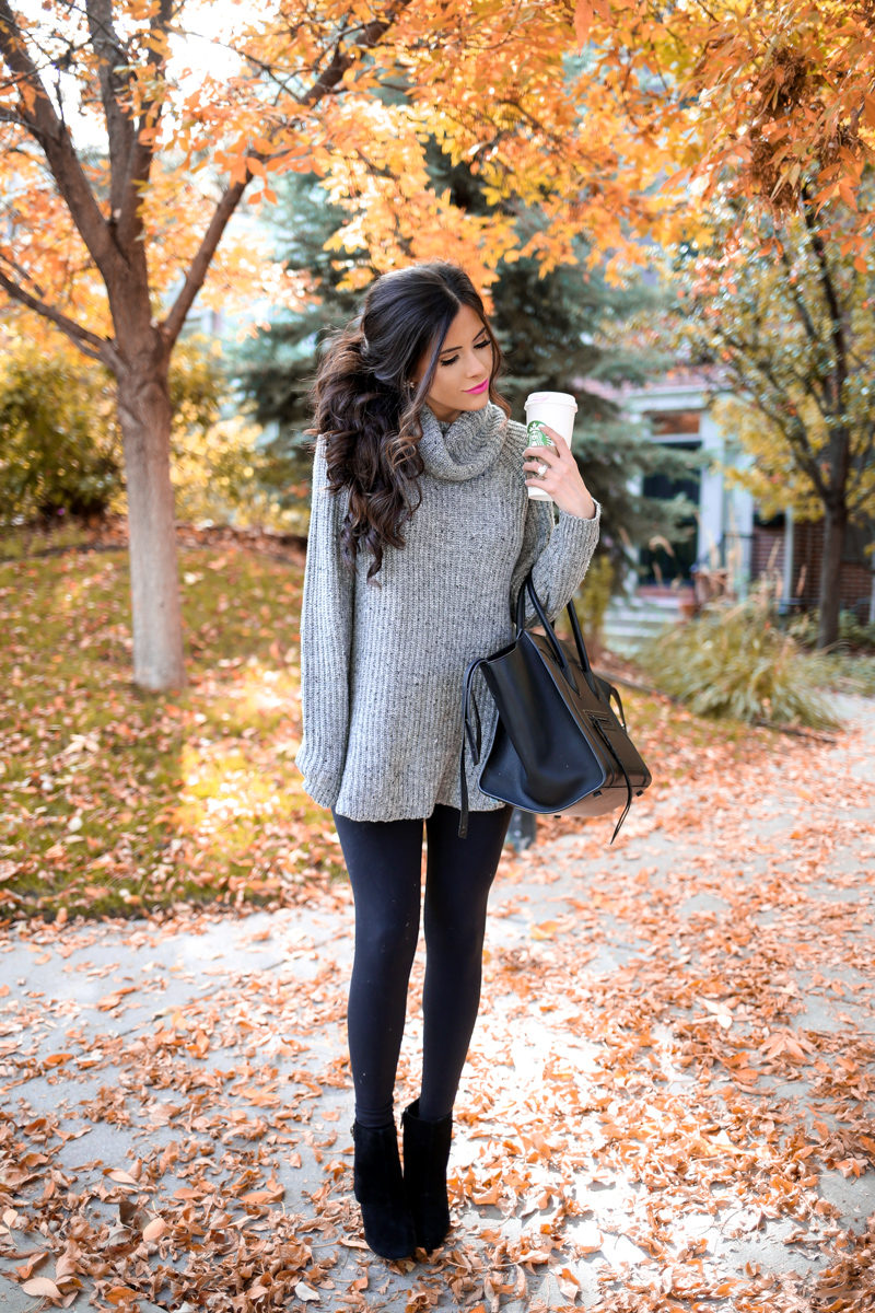 16 Thanksgiving Outfit Ideas featured by top US fashion blogger, Emily Gemma of The Sweetest Thing: cute fall thanksgiving outfitt 2017, emily ann gemma, the sweetest thing blog, all black outfit pinterest, easy cute casual womens outfit fall pinterest tumblr thanksgiving, fashion blogger fall outfits pinterest, celine phantom black, leggings and turtleneck sweater in fall outfits pinterest, fashion and travel blogger in denver