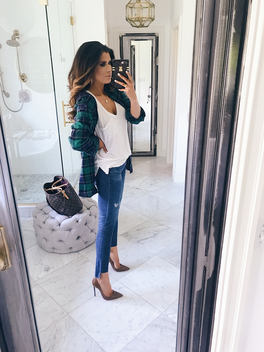 16 Thanksgiving Outfit Ideas featured by top US fashion blogger, Emily Gemma of The Sweetest Thing: cute fall thanksgiving outfitt 2017, cute fall pinterest outfit jeans and plaid top, louis vuitton iPhone 7+ case, emily ann gemma, the sweetest thing blog, all black outfit pinterest, easy cute casual womens outfit fall pinterest tumblr thanksgiving, fashion blogger fall outfits pinterest, Louis vuitton montaigne GM, Brown leather SO kate christian louboutin