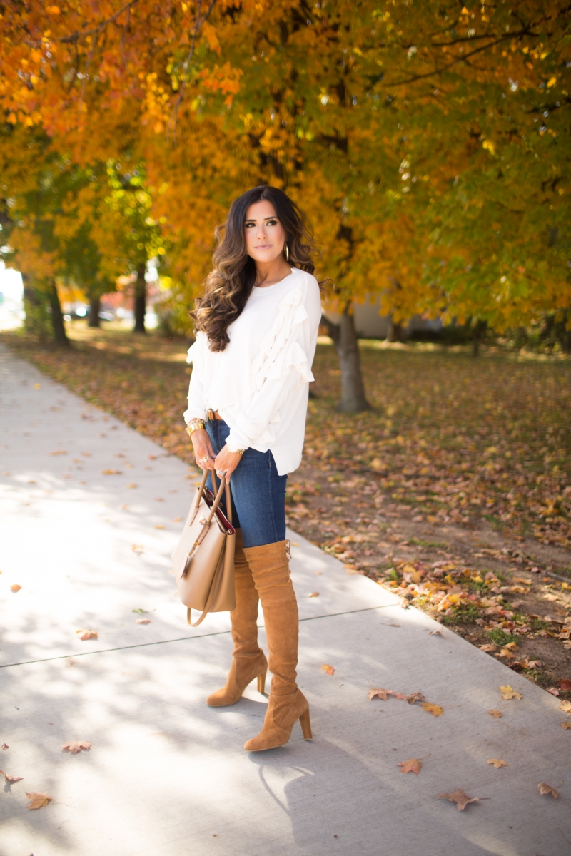 This is easily one of my favorite outfits I've worn this fall. First of all, I wear these jeans SO much – they are super flattering (go one size down) and also very comfortable – they feel like PJs!I love it is because it's a pretty simple look – jeans, OTK boots, & a sweater – but I think the sweater is the statement maker.The Sweetest Thing, Emily Gemma, Emilyanngemma. #fashionblogger #falloutfit #fallfavorite #perfectjeans