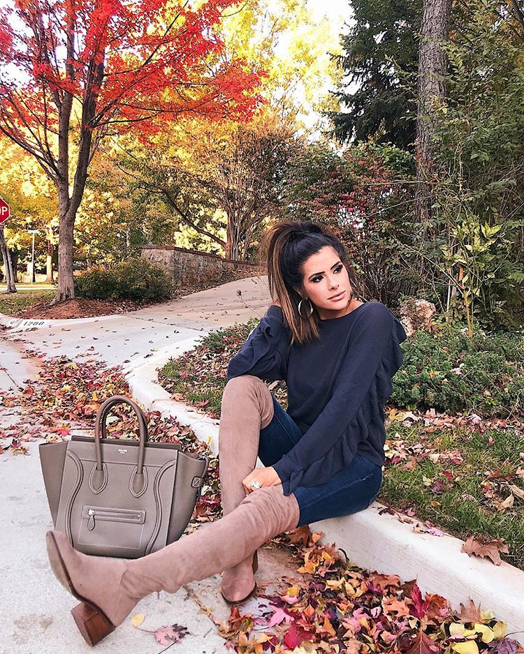 OTK taupe boots outfit pinterest fall outfit, celine mini luggage taupe, emily ann gemma