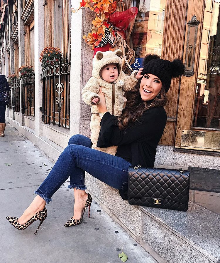 cute baby boy bear outfits, leopard christian louboutin outfit, fall fashion mommy and baby outfit, black classic chanel maxi, asos beanie black, emily ann gemma