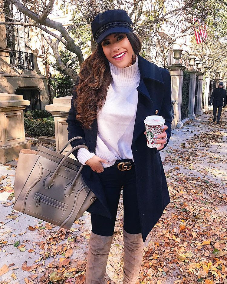 cute fall outfit ideas, gucci belt fall outfit ideas, celine taupe mini luggage, cute pinterest navy peacoat h&m, outfits with cadet caps