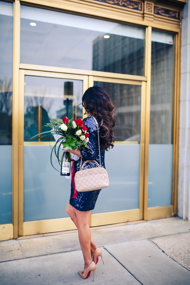 navy sequin dress, new years ever sequin dress, chanel bowling bag nude, emily ann gemma, the sweetest thing, pinterest sequin NYE outfit-3
