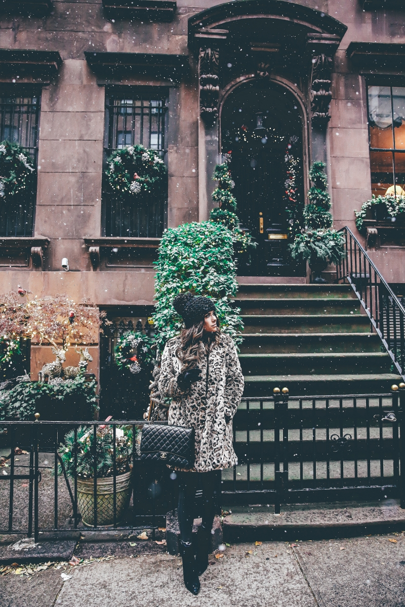 winter outfits leopard jacket, nyc at christmas time, what to wear NY at christmas time, warm cute pinterest outfit NYC winter, emily ann gemma, the sweetest thing blog, cute winter outfit idea nyc, black chanel maxi bag quilted