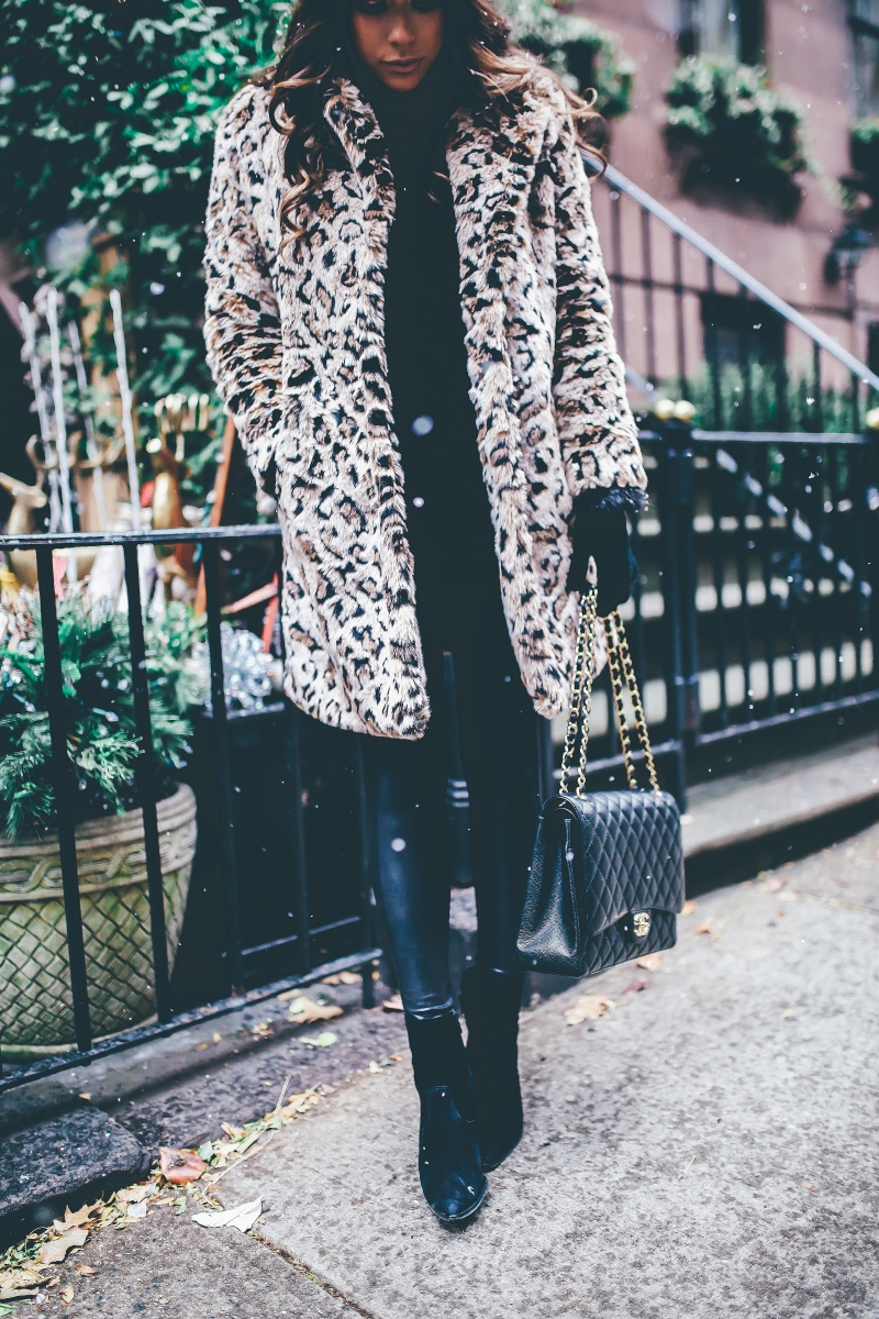 winter outfits leopard jacket, nyc at christmas time, what to wear NY at christmas time, warm cute pinterest outfit NYC winter, emily ann gemma, the sweetest thing blog, cute winter outfit idea nyc, black chanel maxi bag quilted, faux fur leopard coat outfits pinterest