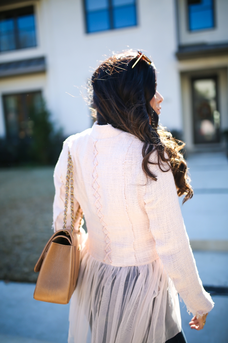 willow and clay blazer tulle gold button, Frame ripped high waisted denim, emily ann gemma, the sweetest thing blog-3