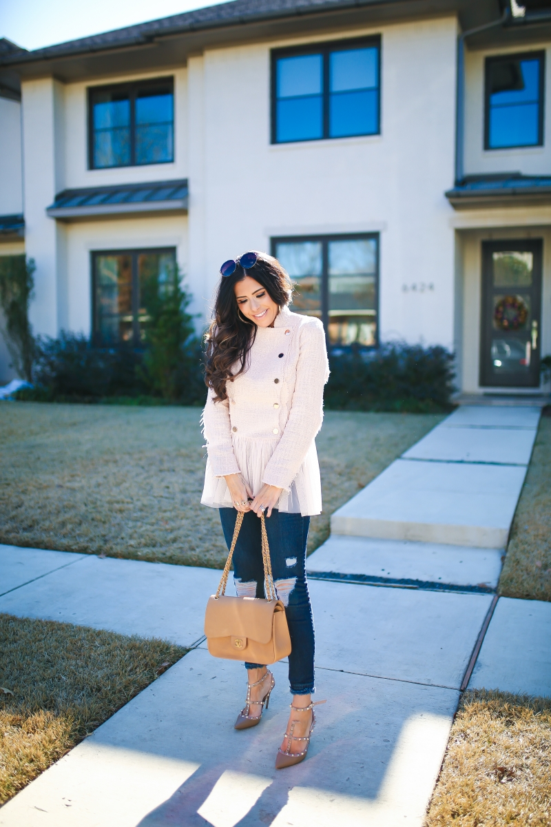 willow and clay blazer tulle gold button, Frame ripped high waisted denim, emily ann gemma, the sweetest thing blog-6