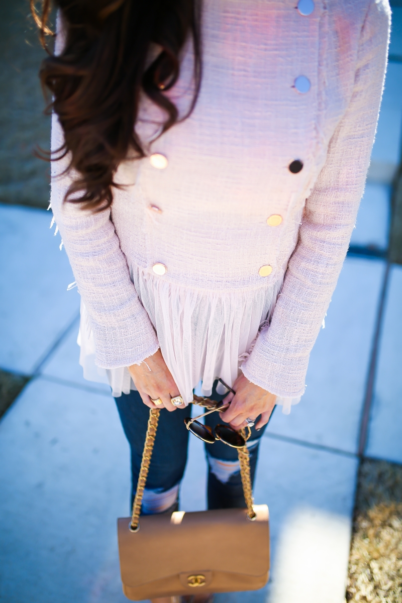 willow and clay blazer tulle gold button, Frame ripped high waisted denim, emily ann gemma, the sweetest thing blog-7