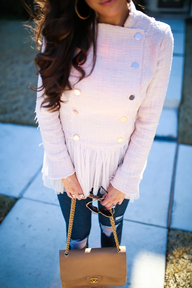 willow and clay blazer tulle gold button, Frame ripped high waisted denim, emily ann gemma, the sweetest thing blog-8