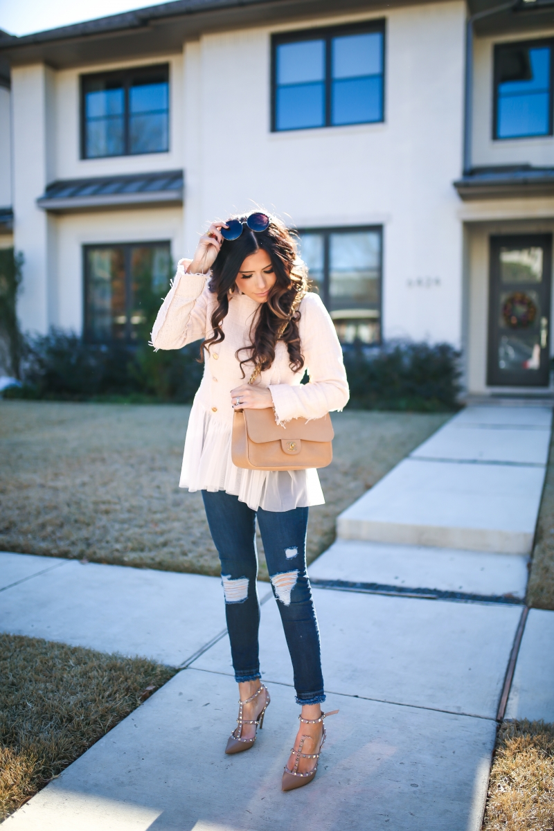 willow and clay blazer tulle gold button, Frame ripped high waisted denim, emily ann gemma, the sweetest thing blog