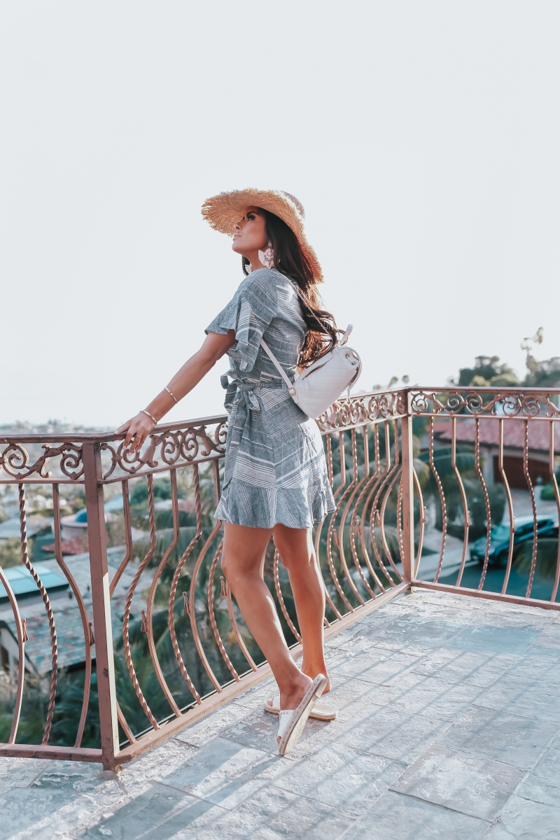Emily Ann Gemma, The Sweetest Thing Blog, VACATION LOOK, THE CUTEST STATEMENT EARRINGS, Vacation 2018 Pinterest, Vacation outfit 2018 Pinterest, Straw hat, Chanel backpack, Chanel backpack 2018 Pinterest, White Chanel backpack, statement earrings, Express statement earrings, Express striped dress, Chanel flats, Express linen dress