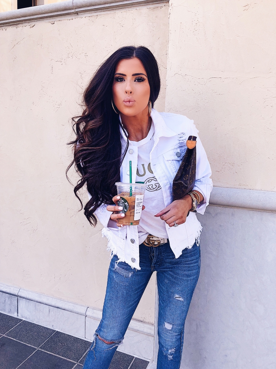 Gucci tee outfit pinterest fashion 2018, White blank NYC denim jacket, Toiletry 26 louis vuitton clutch, spring fashion pinterest 2018, emily ann gemma, fashion bloggers, white gucci belt outfit, emily ann gemma, the sweetest thing blog
