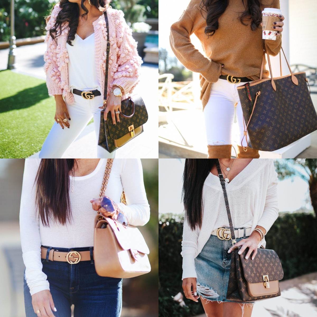 Gucci Belt Sizing by popular US fashion blog, The Sweetest Thing: collage image of a woman wearing a Gucci belt.